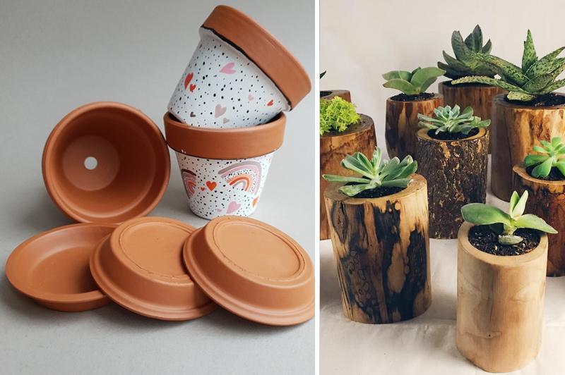 Глиняные и деревянные горшки